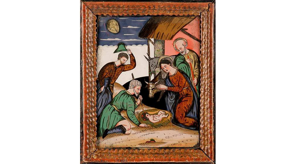 Peinture sous verre du XVIIe siècle