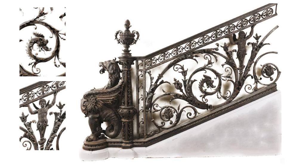 Départ de rampe d'escalier XIXe